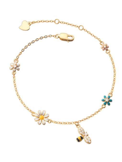 Rosh 925 Sterling Silver Enamel Flower Minimalist Link Bracelet