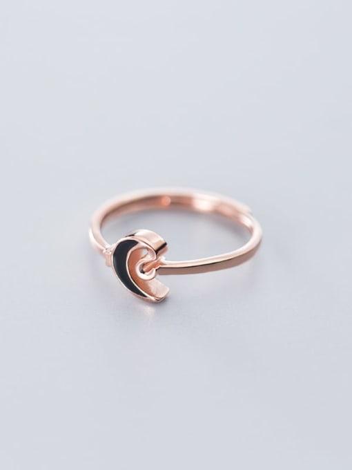 Rosh 925 Sterling Silver Enamel Black Moon Minimalist Band Ring 2