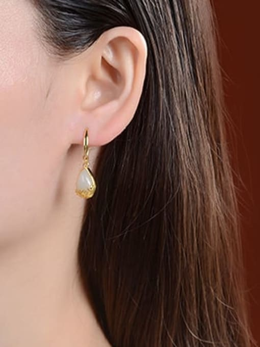 DEER 925 Sterling Silver Jade Water Drop Vintage Hook Earring 1