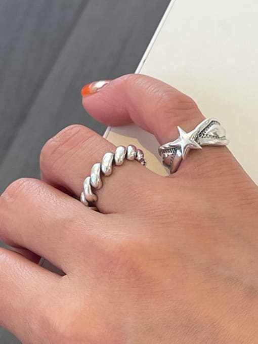 Boomer Cat 925 Sterling Silver Star Vintage Band Ring 1
