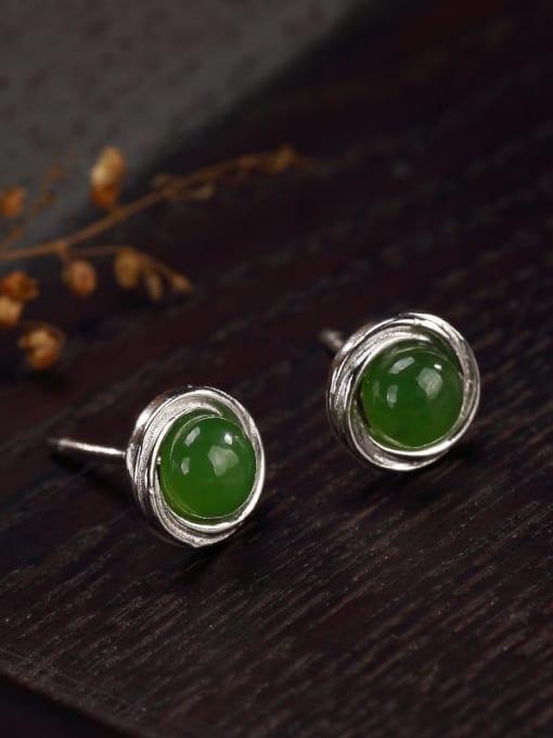 Jasper 925 Sterling Silver Jade Geometric Cute Stud Earring
