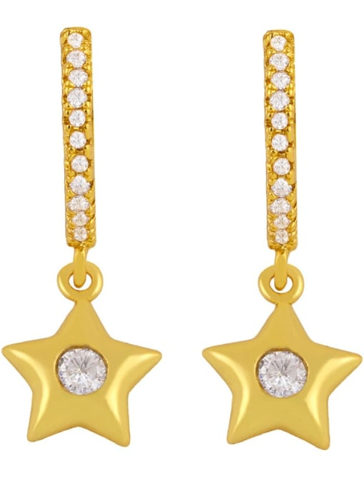 CC Brass Cubic Zirconia Star Minimalist Huggie Earring 3