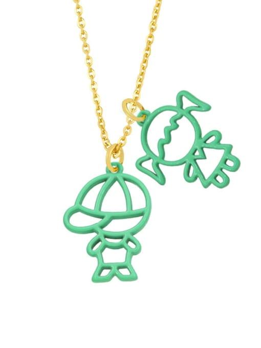 Light green Brass Enamel Cute Angel  Pendant Necklace