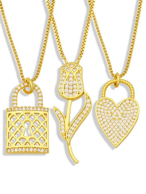 CC Brass Cubic Zirconia Heart Hip Hop Necklace 4