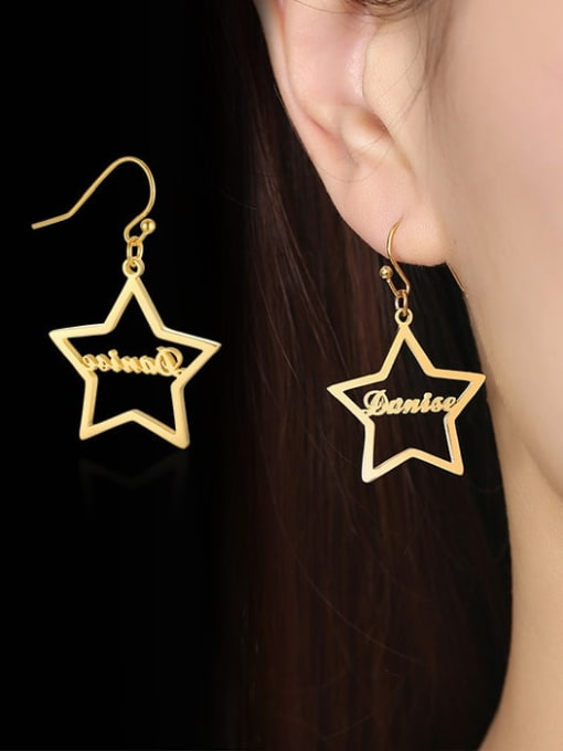 CONG Stainless steel  Hollow Star Minimalist Hook Earring 1