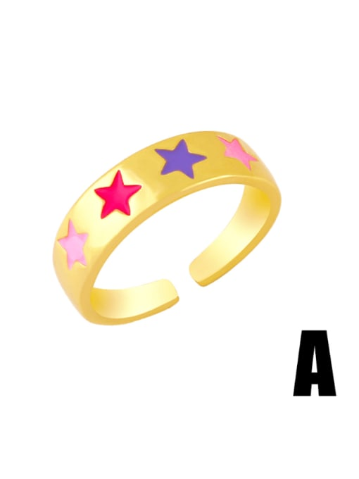 A Brass Enamel Star Hip Hop Band Ring
