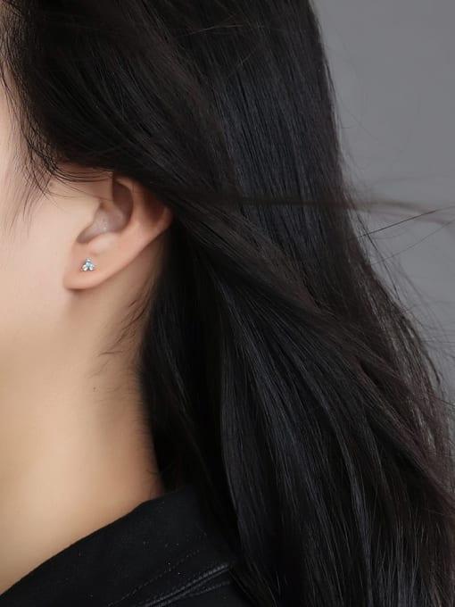 CHARME Brass Cubic Zirconia Flower Minimalist Stud Earring 3