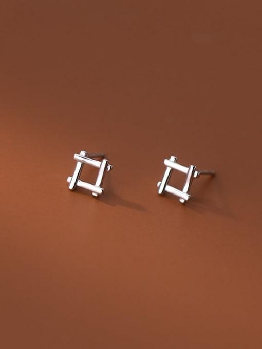 Rosh 925 Sterling Silver Square Minimalist Stud Earring 0