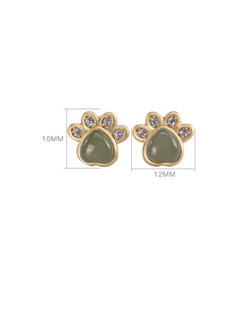 DEER 925 Sterling Silver Jade Cat paw Cute Stud Earring 3