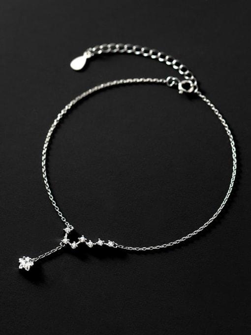Rosh 925 Sterling Silver Cubic Zirconia Star Minimalist  Anklet 0