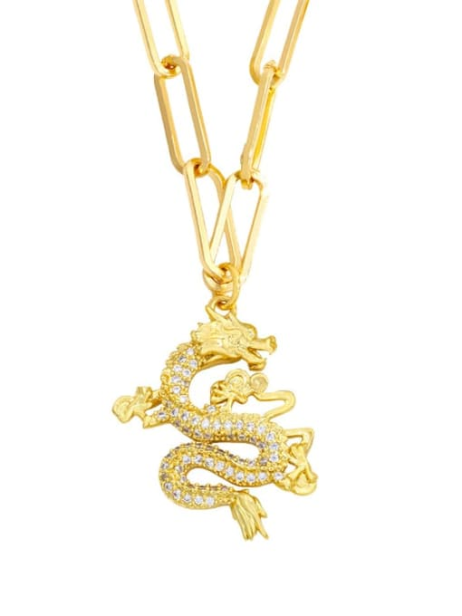 Dragon Brass Cubic Zirconia Butterfly Hip Hop Necklace