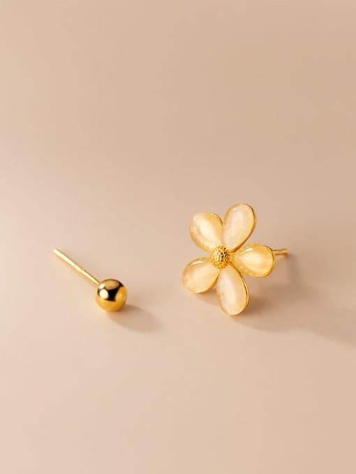 Rosh 925 Sterling Silver Cats Eye Asymmetric  Flower Bead  Minimalist Stud Earring 0