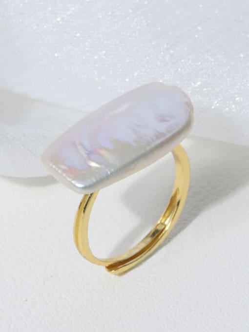 Rectangular ring Brass Freshwater Pearl Irregular Minimalist Band Ring