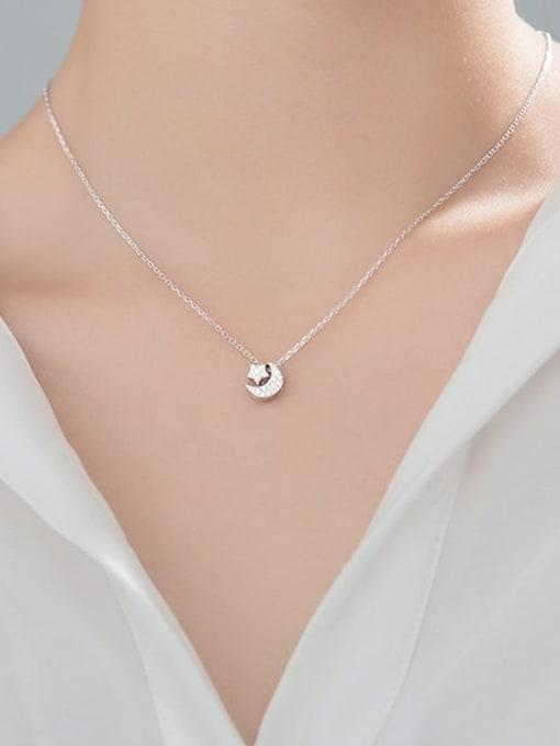 Rosh 925 Sterling Silver Cubic Zirconia Moon Minimalist Necklace 3