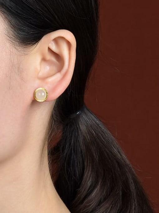 DEER 925 Sterling Silver Jade Round Vintage Stud Earring 1
