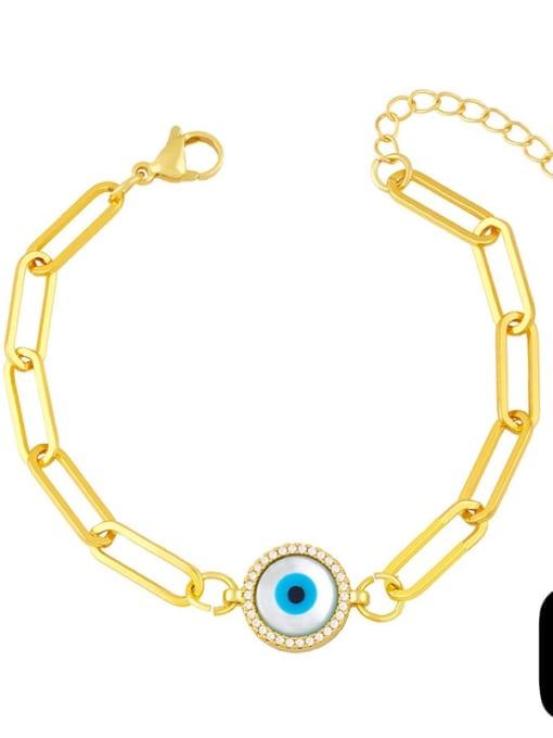 C Brass Enamel Evil Eye Hip Hop Link Bracelet
