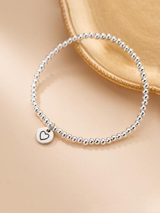 Rosh 925 Sterling Silver Heart Minimalist Beaded Bracelet 2