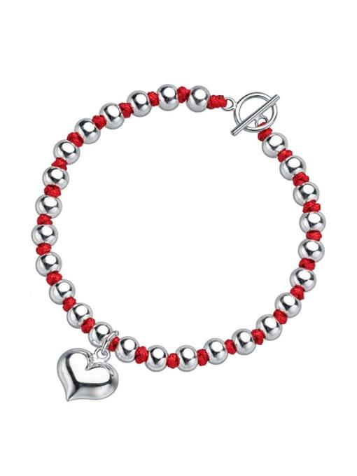 Rosh 925 Sterling Silver Bead Heart Vintage Beaded Bracelet 0