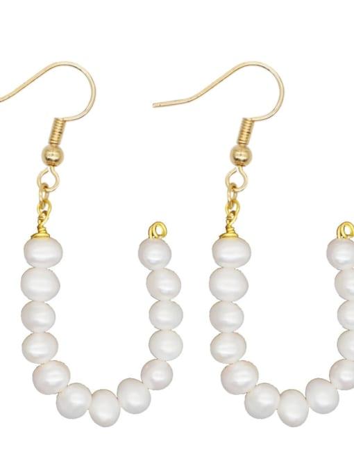 ZZ E200079U Stainless steel Freshwater Pearl Letter Ethnic Drop Earring