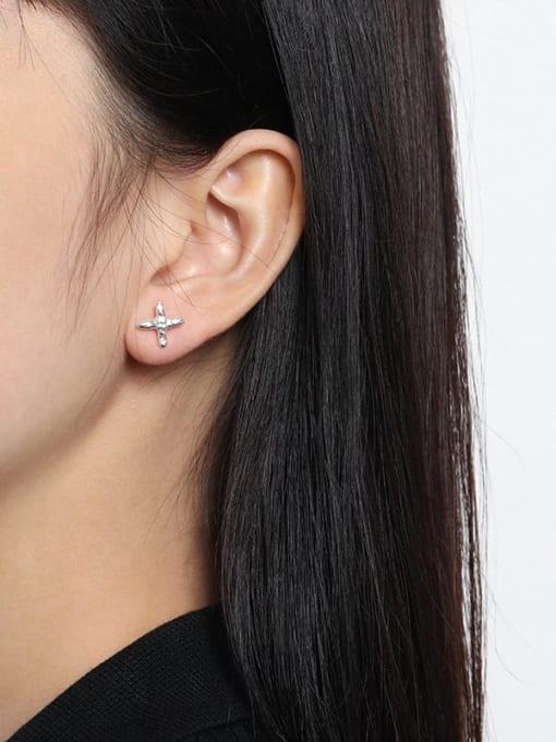 DAKA 925 Sterling Silver Cross Minimalist Stud Earring 1