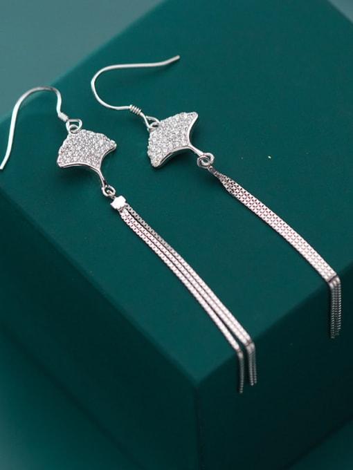 Rosh 925 Sterling Silver Cubic Zirconia Tassel Minimalist Threader Earring 0