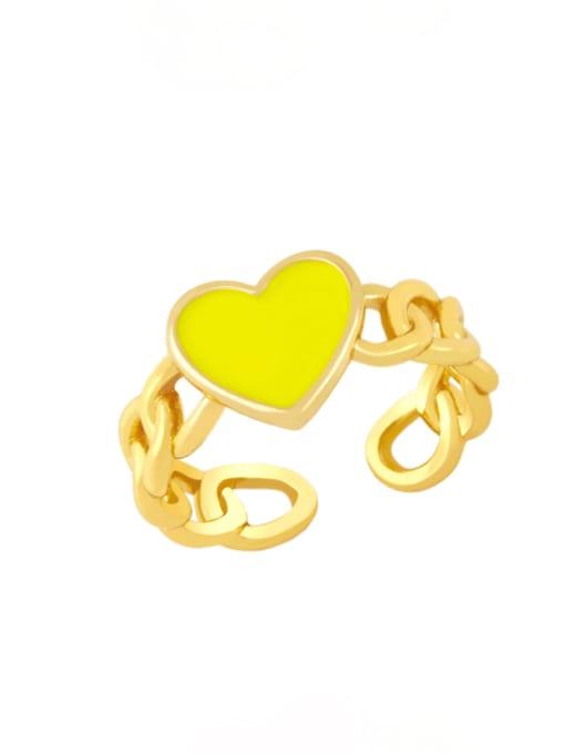 yellow Brass Enamel Heart Vintage Band Ring