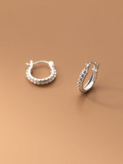 Rosh 925 Sterling Silver Rhinestone Geometric Minimalist Huggie Earring 1