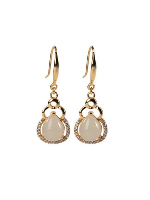 DEER 925 Sterling Silver Jade Irregular Vintage Hook Earring