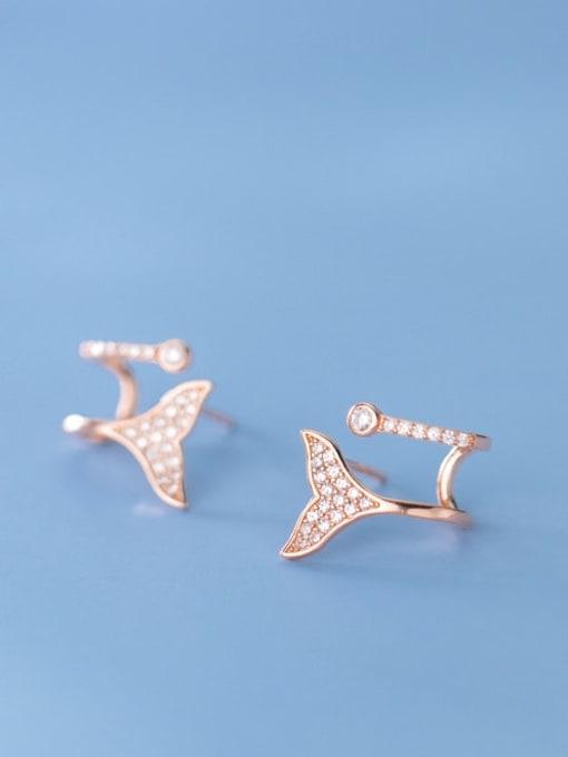 Rosh 925 Sterling Silver Rhinestone Triangle Dainty Stud Earring