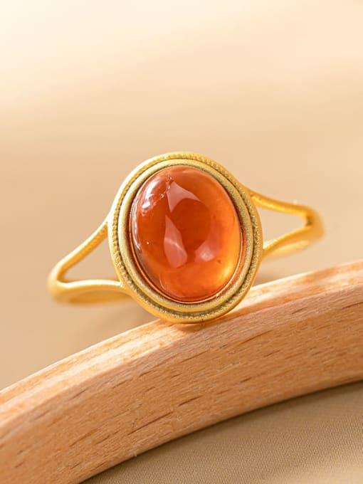 DEER 925 Sterling Silver Garnet Oval Vintage Band Ring