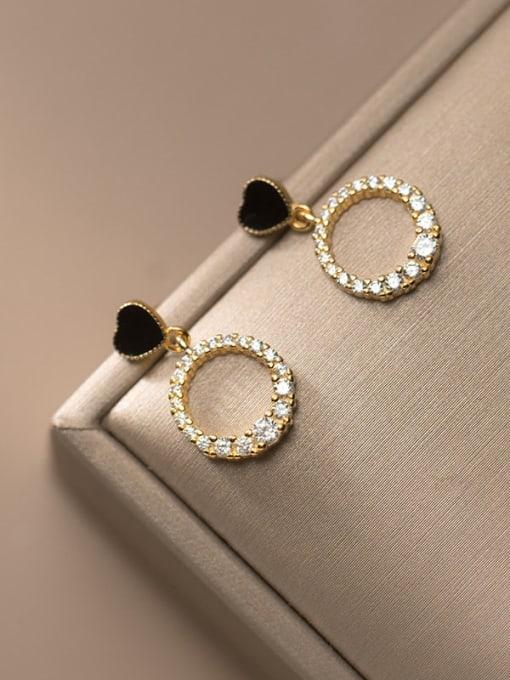 Rosh 925 Sterling Silver Cubic Zirconia Enamel Geometric Minimalist Drop Earring 2