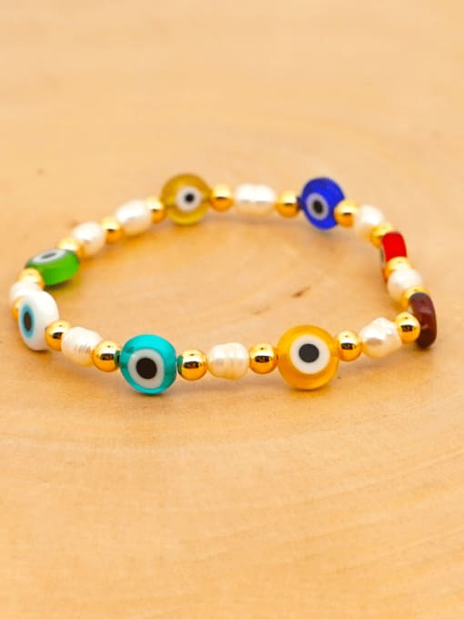 ZZ B200008B Stainless steel MGB Bead Multi Color Evil Eye Bohemia Beaded Bracelet