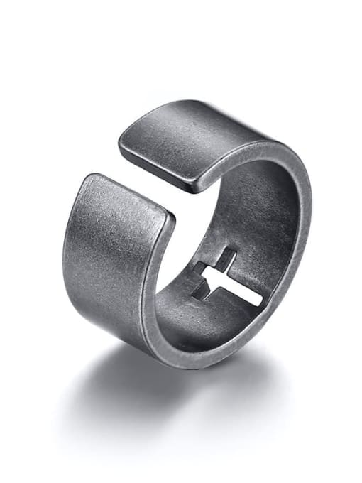 CONG Stainless steel Geometric Hollow Cross Minimalist Band Ring 2
