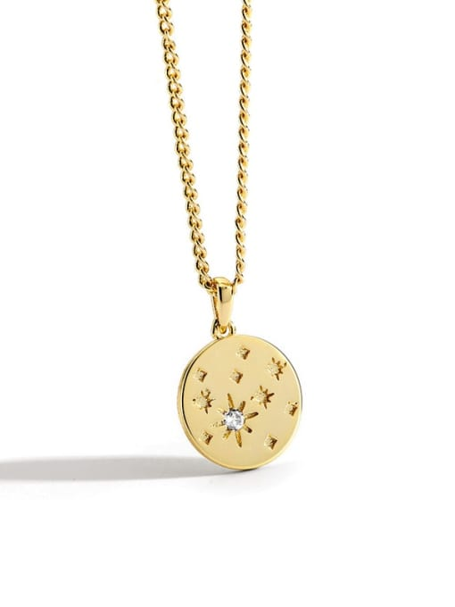 Gold disc Diamond Star Necklace Brass Rhinestone Round Minimalist Necklace