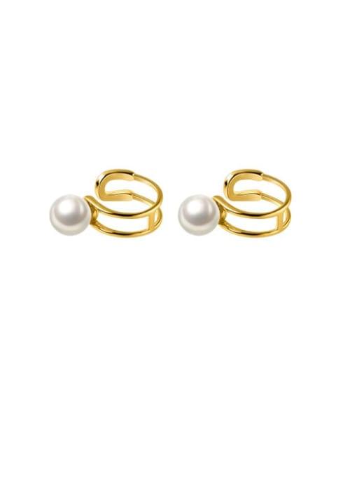 Rosh 925 Sterling Silver Imitation Pearl Geometric Minimalist Clip Earring 3