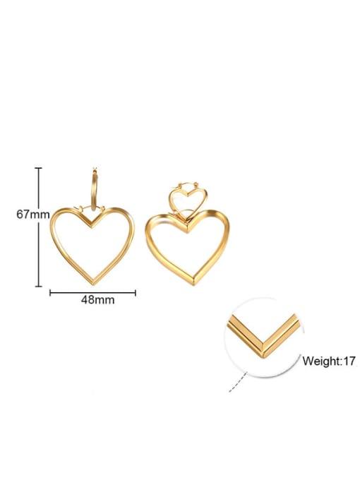 CONG Stainless steel Hollow Heart Minimalist Single Earring 2