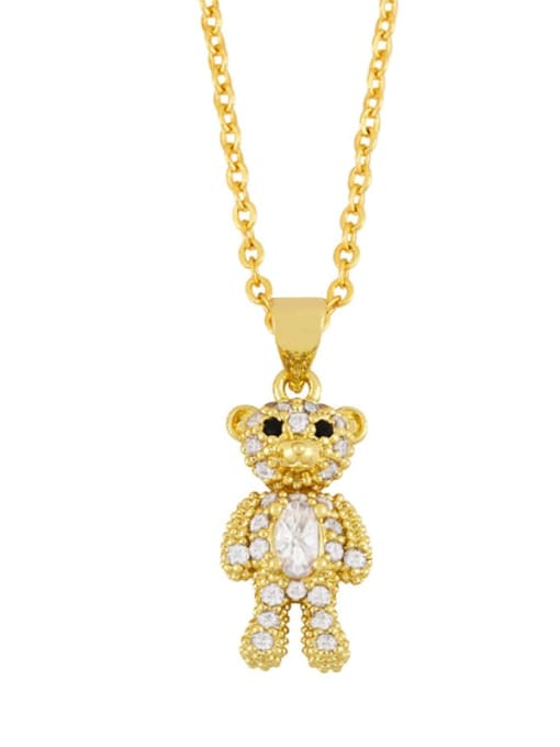 C Brass Cubic Zirconia  Cute Bear Pendant Necklace