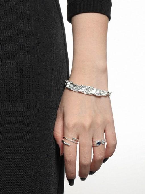 DAKA 925 Sterling Silver Irregular Minimalist Cuff Bangle 2
