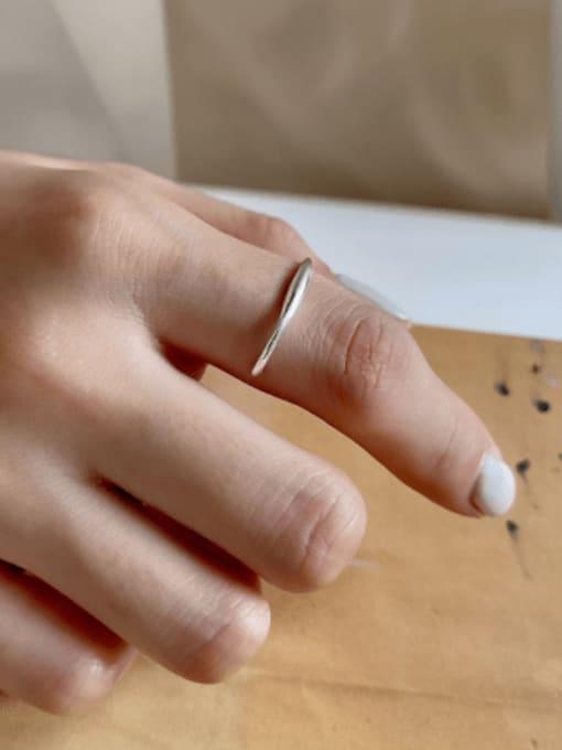 Boomer Cat 925 Sterling Silver Irregular Line Minimalist Band Ring 1