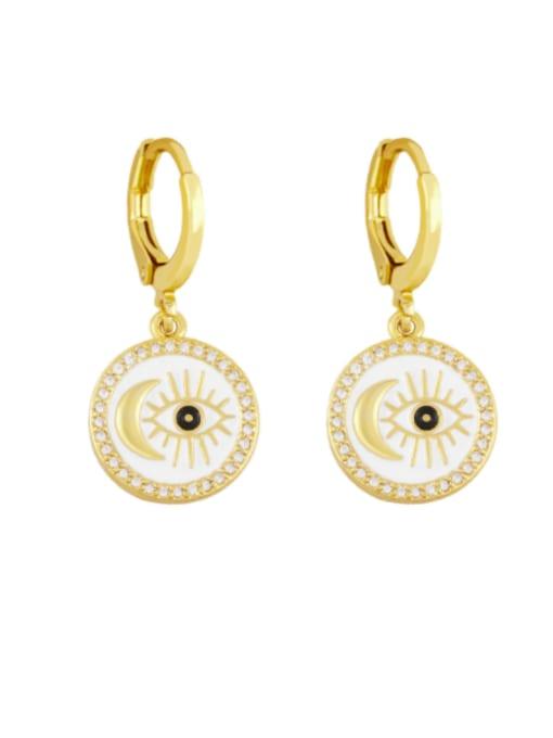white Brass Enamel Evil Eye Vintage Huggie Earring