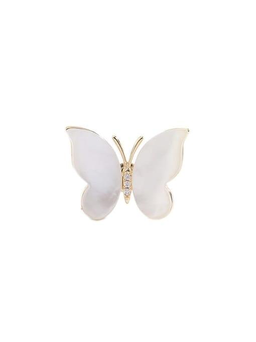 Luxu Brass Cats Eye Butterfly Minimalist Brooch