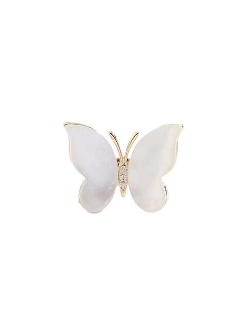 golden Brass Cats Eye Butterfly Minimalist Brooch