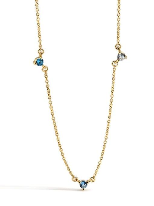 Gold Zircon Necklace Brass Rhinestone Geometric Minimalist Necklace