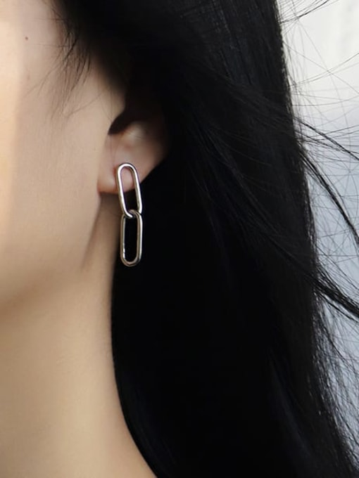 CHARME Brass Hollow Geometric Minimalist Drop Earring 3