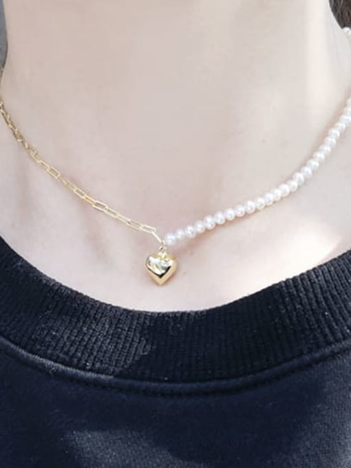 RAIN Brass Freshwater Pearl Heart Minimalist Necklace 1