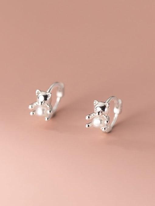 Rosh 925 Sterling Silver Bear Cute Huggie Earring