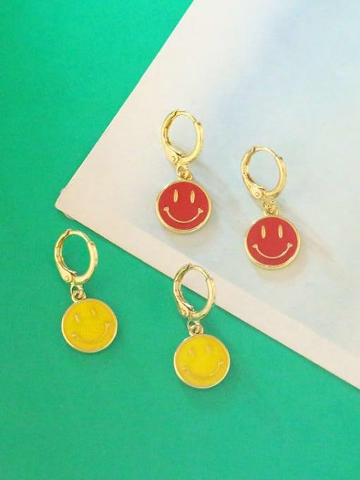 CC Brass Enamel Smiley Minimalist Huggie Earring 3