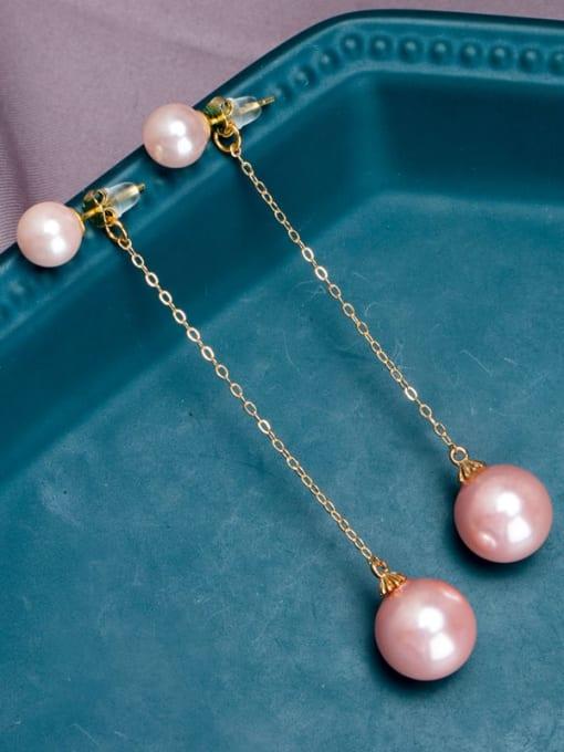 RAIN Brass Imitation Pearl Tassel Minimalist Drop Earring 1