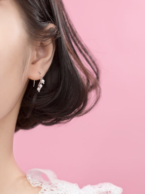 Rosh 925 Sterling Silver Imitation Pearl  Round Ball Minimalist Hook Earring 1