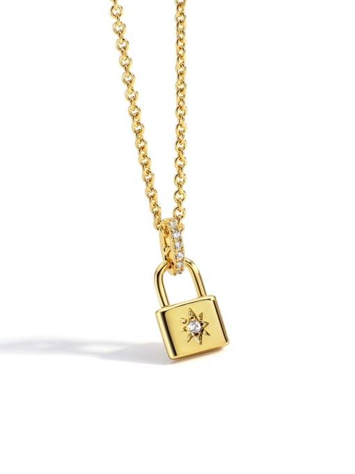 Gold Lock Necklace Brass Rhinestone Locket Minimalist Necklace